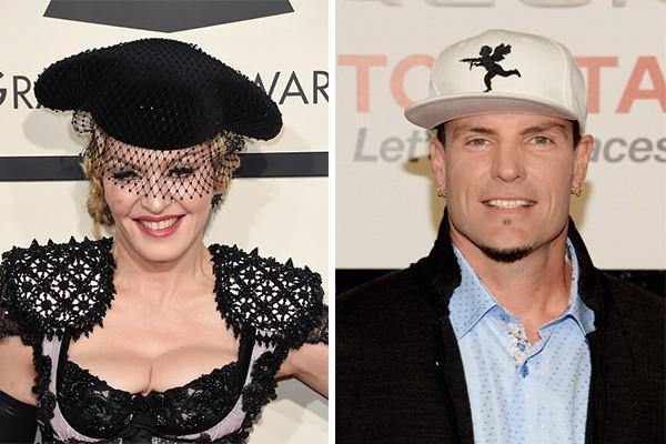 Madonna e Vanilla Ice namoraram por oito meses, até que o rapper a largou em 1991. Segundo ele, o motivo foi a publicação do livro 'Sex' pela cantora em que sua vida amorosa e sexual era exposta.  (Foto: Getty Images)