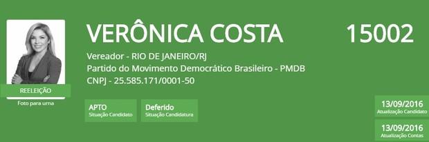 Veronica Costa (Foto: Reprodução/TSE)