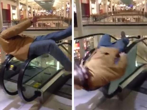 Brincadeira em escada rolante acabou em prejuízo de R$ 7.400 (Foto: Reprodução/YouTube/Andrew Nichols)