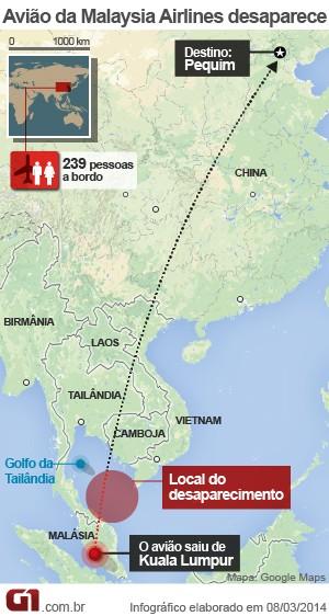 mapa avião desaparecido malásia  (Foto: Arte/G1)