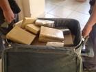 Trio é flagrado transportando mala recheada com tabletes de maconha