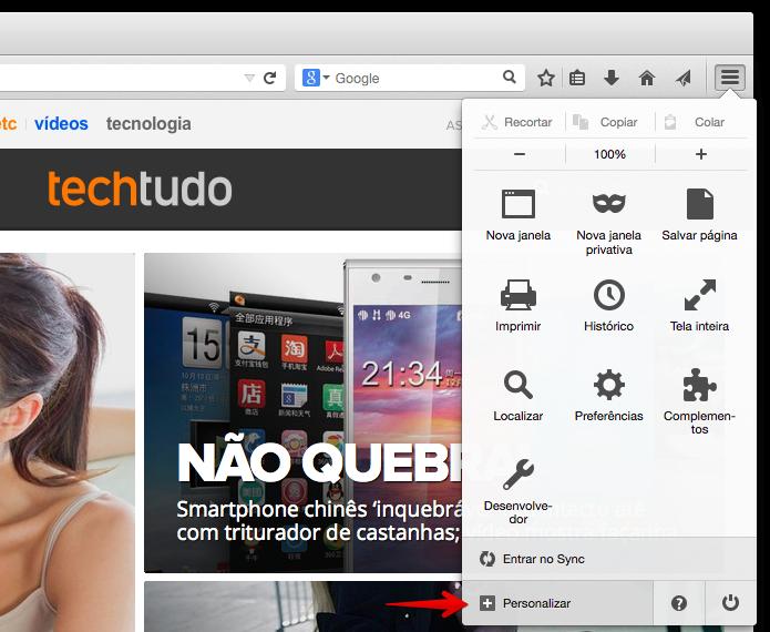 Acesse o menu do Firefox para adicionar o botão do Hello (Foto: Reprodução/Helito Bijora)