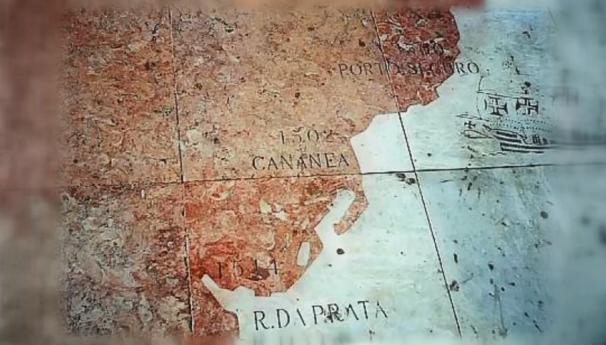 Foto localizada em Lisboa mostra que Cananéia pode ter sido fundada em 1502 (Foto: Reprodução/TV Tribuna)