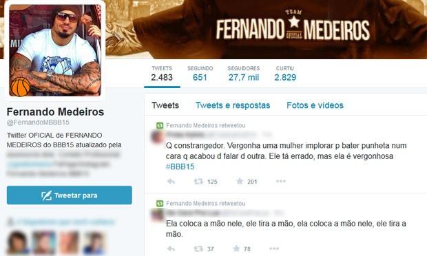 Comentários sobre Amanda e Fernando BBB15 (Foto: Reprodução / Twitter)