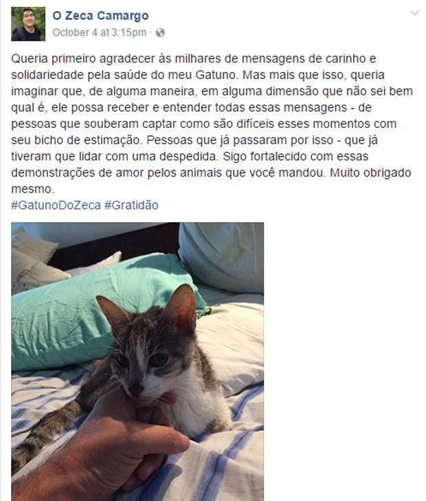 Zeca Camargo fez posts sobre Gatuno, de 17 anos (Foto: Reprodução/Facebook)