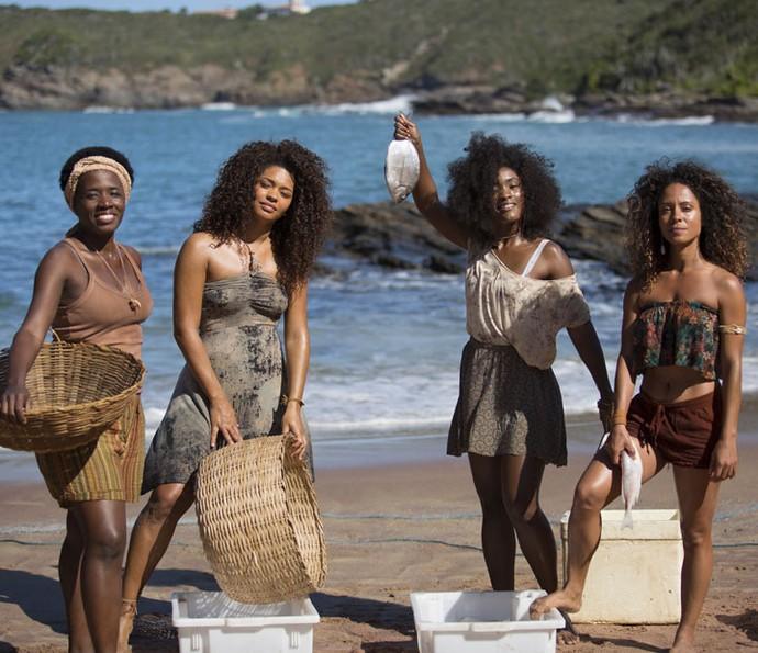 Em 'Sol Nascente', Ju contracena muito com Tatiana Tibúrcio, Erika Januza e Cinara Leal (Foto: Lydio Cerqueira/Gshow)
