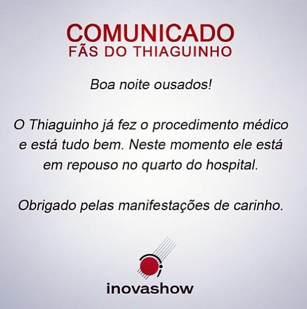 Comunicado aos fãs de Thiaguinho (Foto: Reprodução/Instagram)