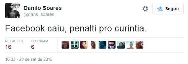 Sobrou também para o Corinthians na zoeira com a queda do Facebook nesta segunda-feira (28) (Foto: Reprodução/Twitter/dans_soares)