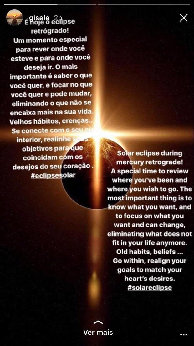 Gisele Bündchen pede vibrações positivas no momento do eclipse (Foto: Reprodução / Instagram)