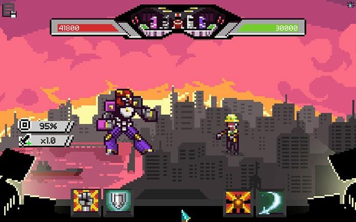 Há até mesmo batalhas com robôs gigantes em Chroma Squad (Foto: Reprodução/Felipe Vinha)