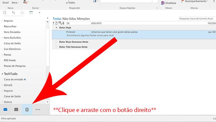 Arraste o e-mail para o ícone de tarefas com o botão direito do mouse (Foto: Reprodução/Elson de Souza)