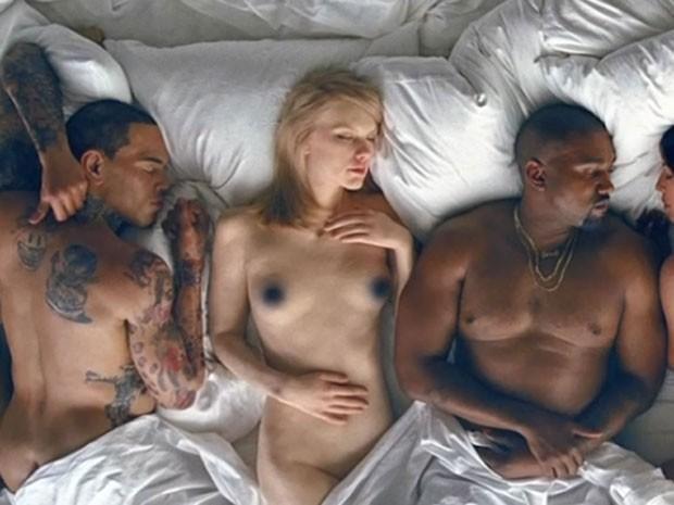 Chris Brown, Taylor Swift e Kanye West são retratados em clipe (Foto: Reprodução)