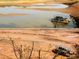 Na imagem acima, em foto tirada na sexta-feira (9), é possível ver o volume de água no reservatório após as intervenções do Depasa. A foto abaixo foi tirada na quinta-feira (8). (Foto: Divulgação/Depasa)