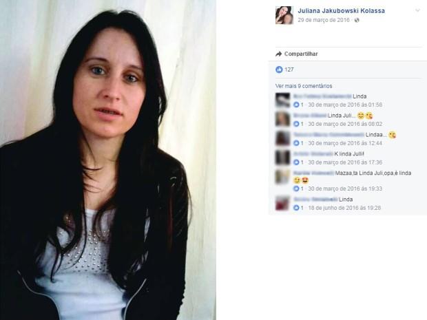 Juliana Jakubowski Kolassa, Carlos Gomes, assassinato, ex-marido (Foto: Reprodução/Facebook)