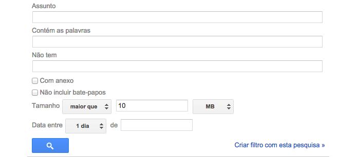 Busque por mensagens com mais de 10 MB (Foto: Reprodução/Paulo Alves)