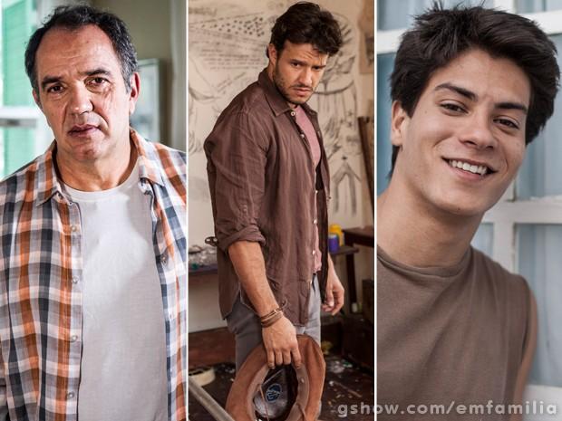 Virgílio nas três fases: Humberto Martins, Fernando Rodrigues e Arthur Aguiar (Foto: Inácio Rodrigues/Divulgação/TV Globo)