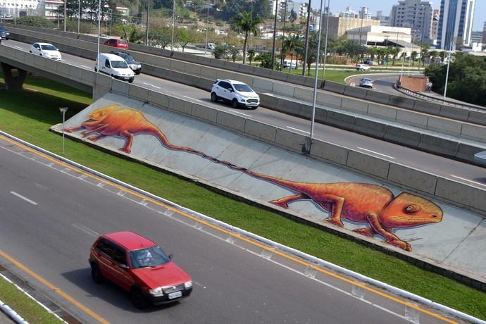 Mistura conversa com artista com desenhos conhecidos em Florianópolis (Foto: RBS TV/Divulgação )