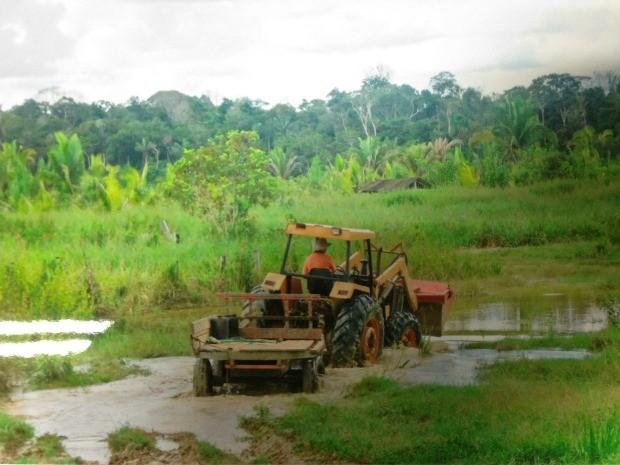 Trator passa com dificuldade por estrada de acesso a fazenda  (Foto: Maria da Conceição/Arquivo Pessoal)