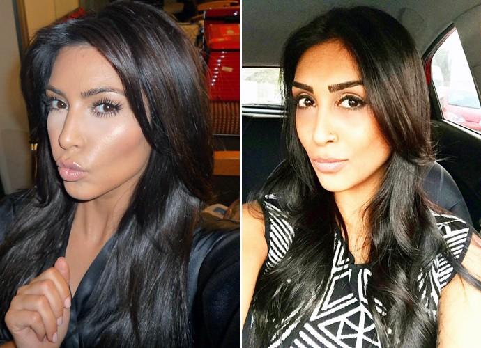 Kim Kardashian e Amanda Djehdian fazem selfie na mesma pose! (Foto: Imagem extraída da rede social da Kim Kardashian e Arquivo pessoal)