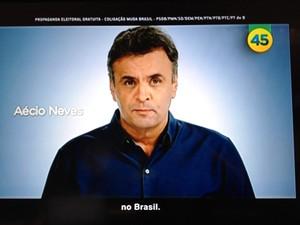 O candidato do PSDB à Presidência, Aécio Neves, durante propaganda política