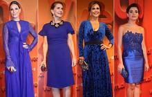Famosas apostam em looks no tom azul royal na festa do 'Vem aí'
