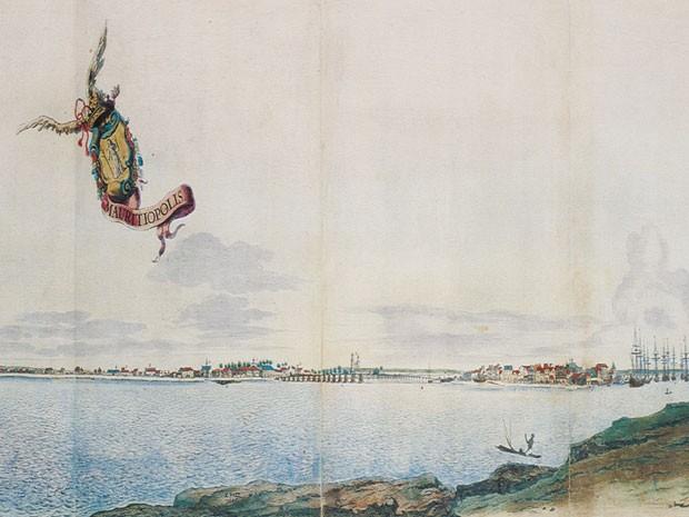 Ilustração mostra a Cidade Maurícia, o Recife do período holandês (Foto: Acervo Instituto Ricardo Brennand)