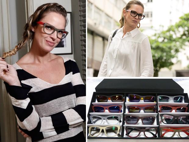 Érika com sua coleção de óculos (Foto: Fábio Roca, Inácio Moraes / Gshow)