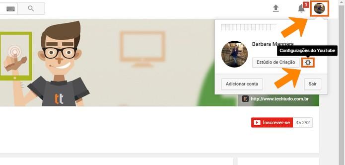 Abra as configurações da sua conta do YouTube (Foto: Reprodução/Barbara Mannara)