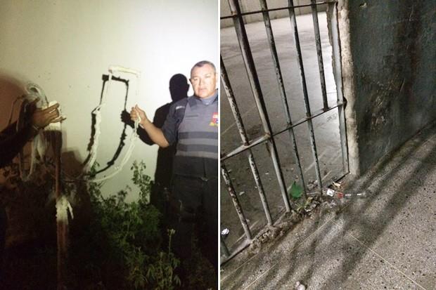 Presos serram grades de uma cela e depois usaram uma 'teresa' para escalar o muro da cadeia (Foto: Divulgação/PM)