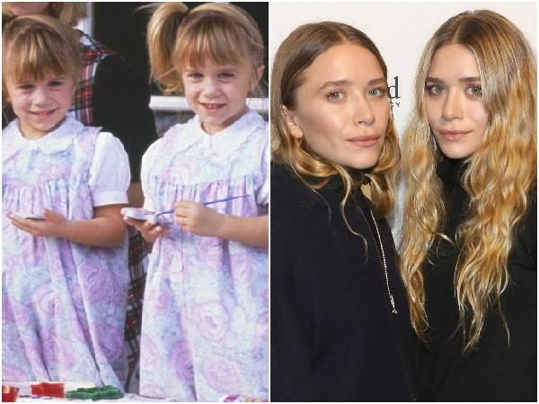 Mary-Kate e Ashley Olsen em 1992 e 2014- As gêmeas que fizeram sucesso como Michelle na série 'Três é Demais', foram largando a carreira de atriz aos poucos e hoje em dia fazem parte do mundo da moda. (Foto: Getty Images)