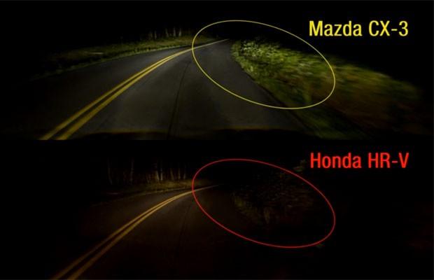 Comparação entre a luminosidade do Mazda CX-3 e do Honda HR-V (Foto: Divulgação/IIHS)