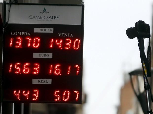 Peso argentino sofreu forte desvalorização frente ao dólar e outras moedas como o euro e o real (Foto: Reuters)
