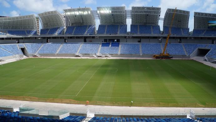 Arena das Dunas entra na fase de acabamento e testa iluminação (Foto: Augusto Gomes)