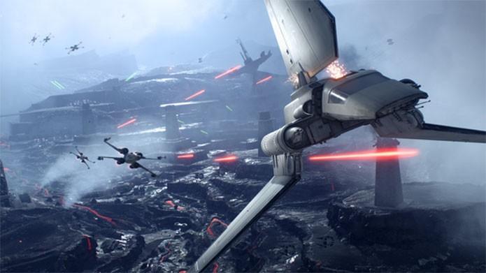 A Imperial Shuttle é uma nave de transporte em Star Wars Battlefront (Foto: Divulgação/EA)