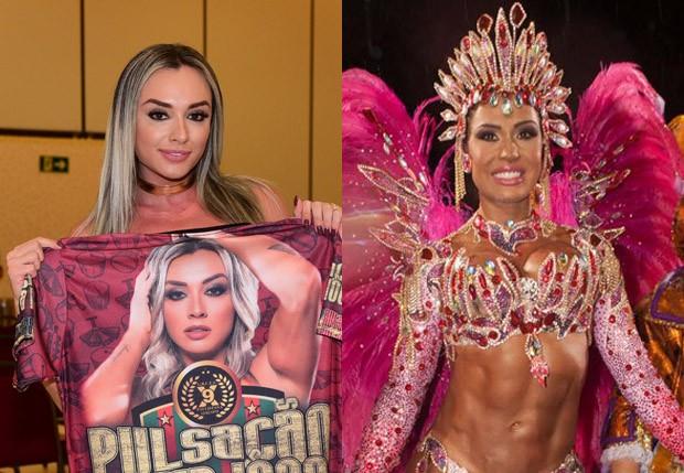 Juju Salimeni e Gracyanne Barbosa (então como rainha da X-9) (Foto: Leo Franco/AgNews e Fred Chalub/Ed. Globo)