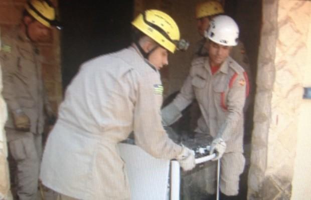 Bombeiros retiraram cobra de dentro de fogão, em Goiânia (Foto: Reprodução/ TV Anhanguera)