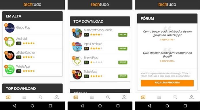 Elementos da homepage do TechTudo para Android (Foto: Reprodução/Raquel Freire)