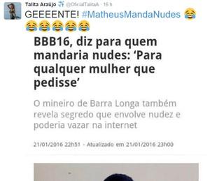 Comentário de Talita em suesa redes sociais sobre Matheus BBB16 (Foto: Reprodução da Internet)