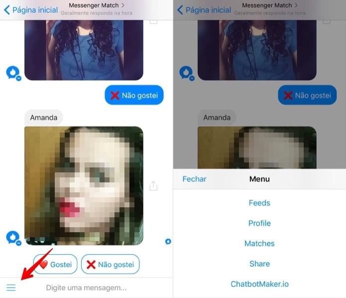 Acessando as opções do Messenger Match (Foto: Reprodução/Helito Bijora)