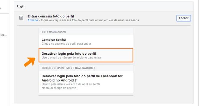 Desative o recurso de login por foto de perfil no Facebook (Foto: Reprodução/Barbara Mannara)