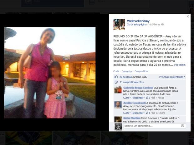 Com a mãe presa e o pai sob investigação, menina está em abrigo no Texas (Foto: Reprodução / Facebook)