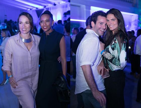 Marina Caruso, editora da Marie Claire, posa ao lado de Tais Araújo (esquerda) e Thiago Senna se diverte com a bela Daniella Sarahyba (Foto: Divulgação)