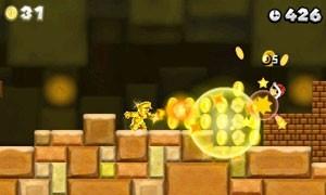 Mario pega a Flor de Ouro e joga bolas em blocos para transformá-los em moedas no novo game da franquia (Foto: Divulgação)