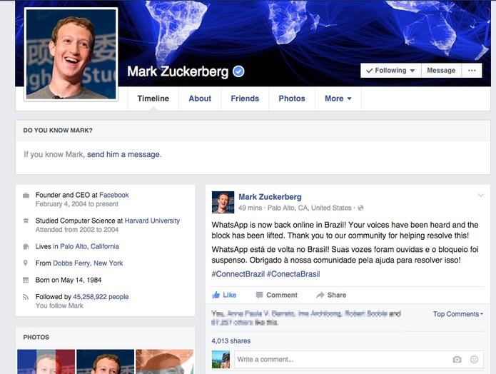 Zuckerberg celebra volta do Whatsapp e agradece 'pressão da comunidade' (Foto: Divulgação/Facebook)