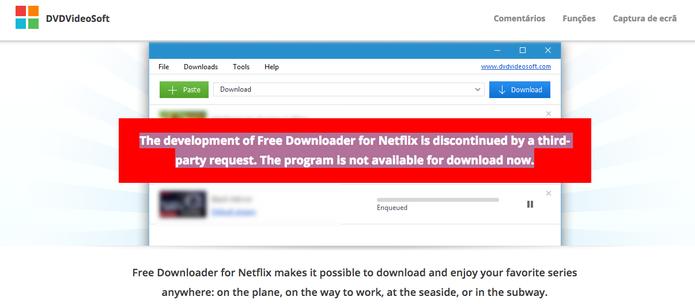 Software irregular que baixa filmes da Netflix no computador