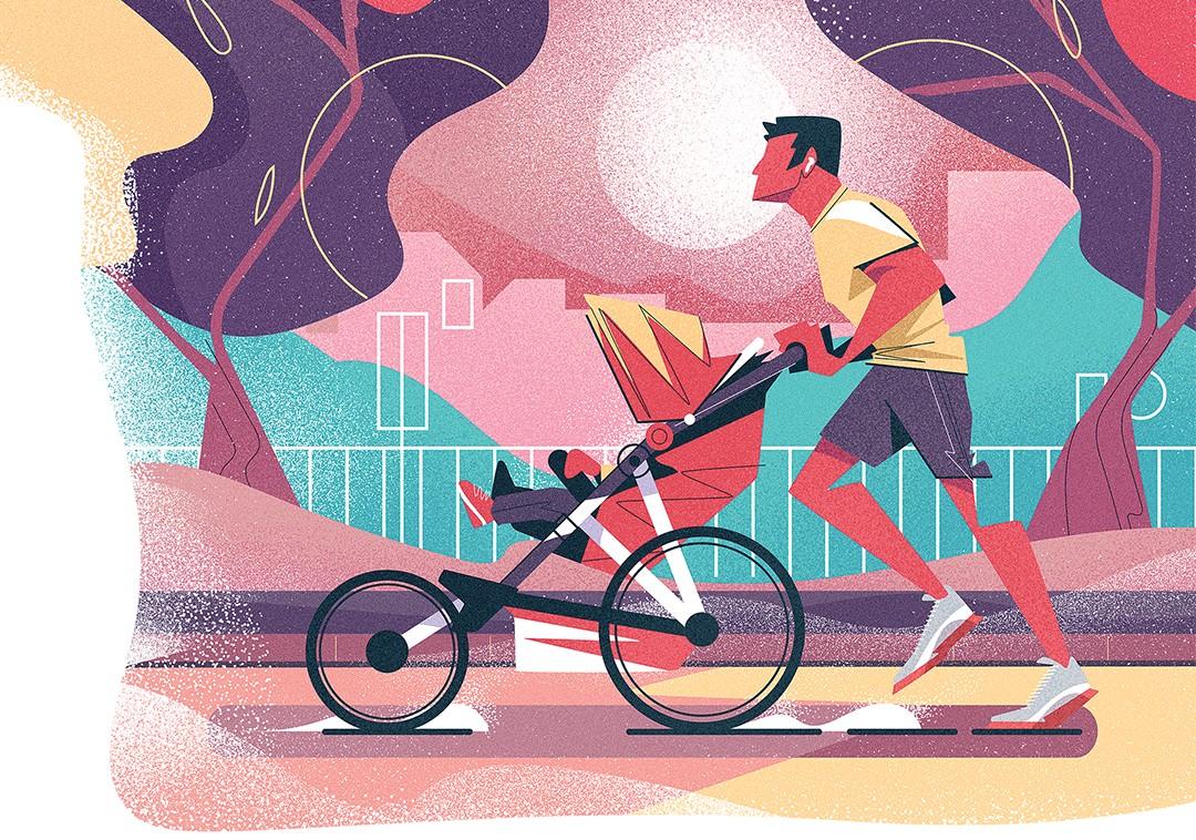 """A tal barriga de pai: """"Reserve 15 a 20 minutos do seu dia para treinar. tem mais tempo? ótimo. Se não, o mínimo para manter o corpo em forma já foi feito"""" (Ilustração Denis Freitas)"""