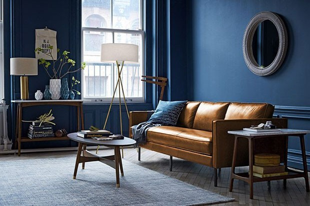 Sala De Estar Azul E Bege ~ ainda melhores o couro caramelo e mesas laterais e de centro no mesmo