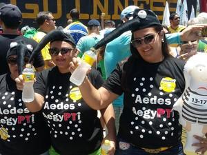 Leila Pereira no protesto contra Dilma no Recife (Foto: Bruno Marinho)