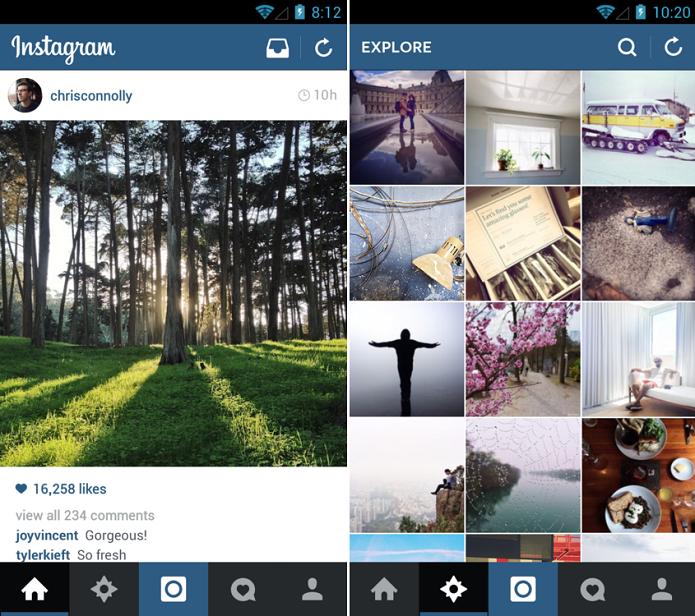 Instagram ganhou novo visual no Android (Foto: Divulgação/Instagram) (Foto: Instagram ganhou novo visual no Android (Foto: Divulgação/Instagram))