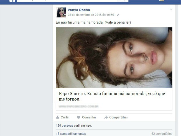 Post sobre namoro foi feito dois dias antes do homicídio (Foto: Reprodução/ Facebook)
